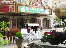 Horse drawn carriage in front of South Bend theatre